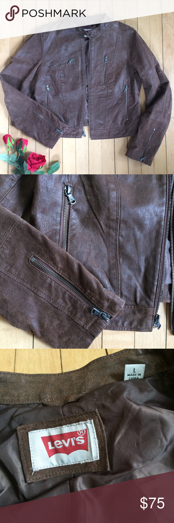 Levi's Brown Suede Leather Moto Jacket Jackets, Leather