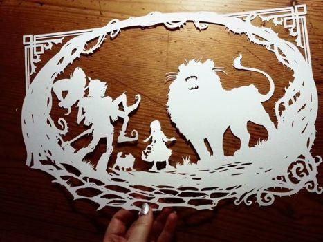 Cowardly Lion - Original Papercut by PaperPandaCuts