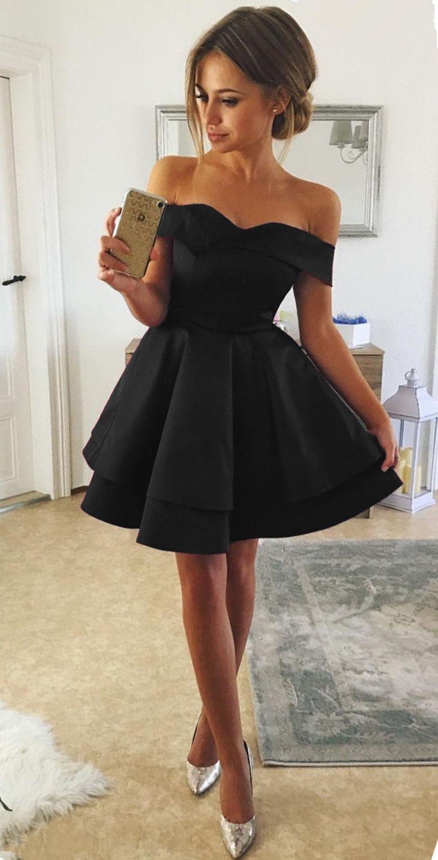 Short Satin V Neck Off The Shoulder Prom Homecoming Dresses Black Homecoming Dress Cute Short Dresses Formal Dresses Short [ 1525 x 778 Pixel ]