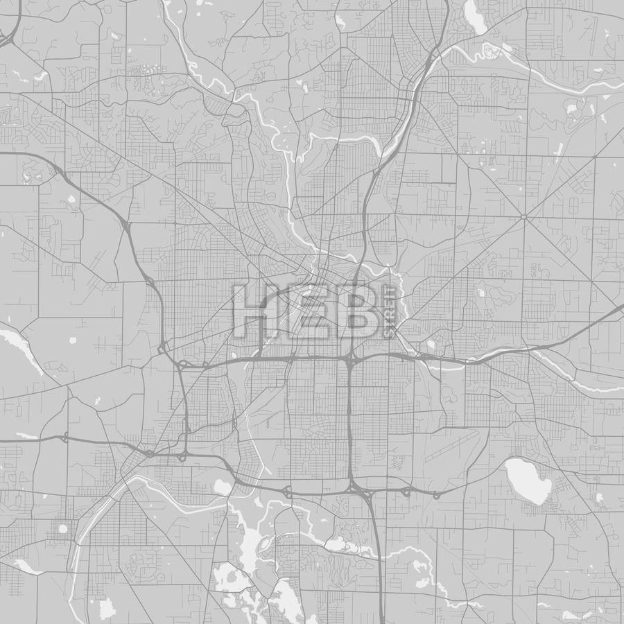 Akron Ohio Area Map Grey