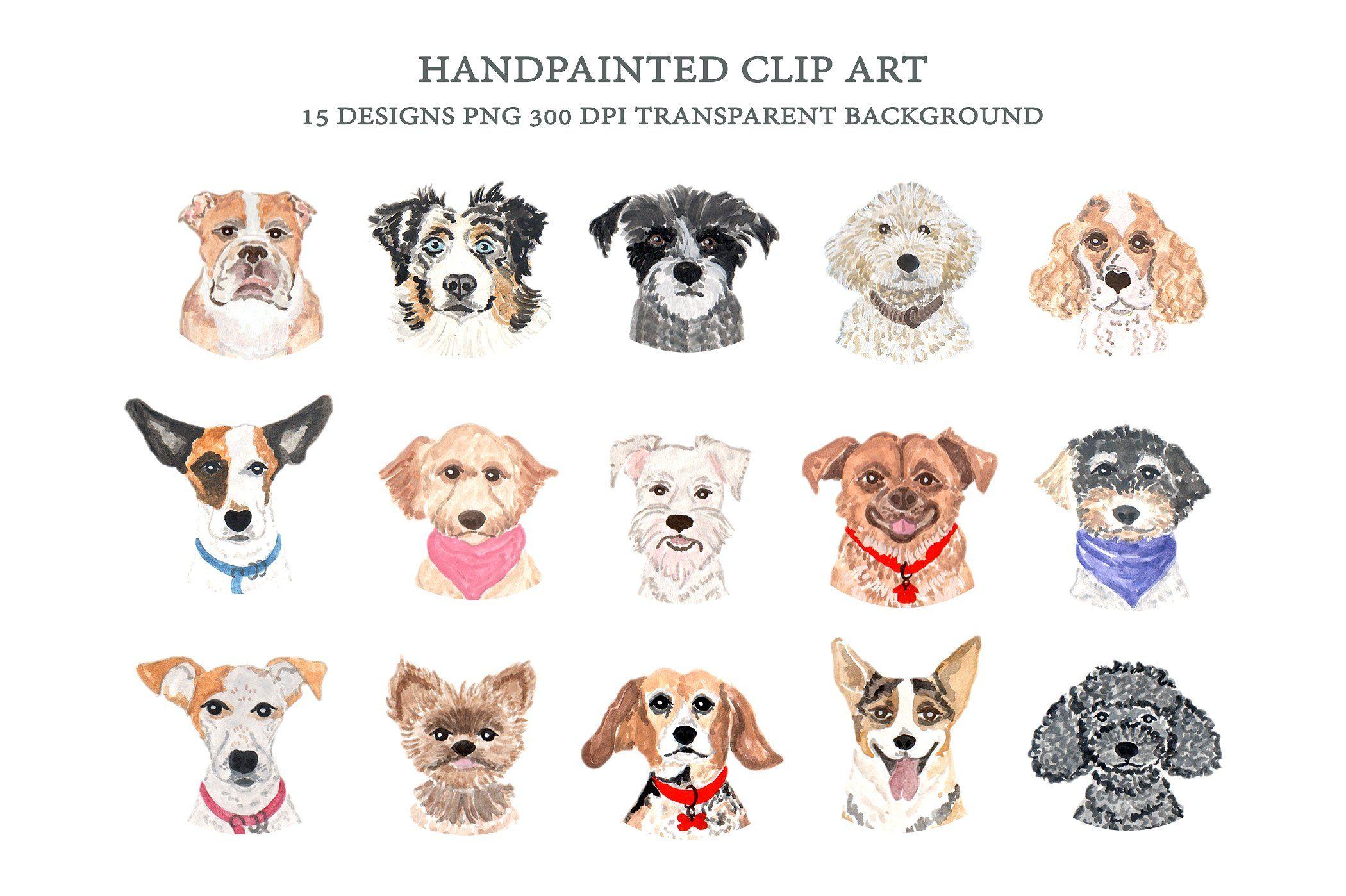 Dog Breeds Faces Clip Art Dog Heads Dog Clip Art Watercolor Dog Animal Clipart