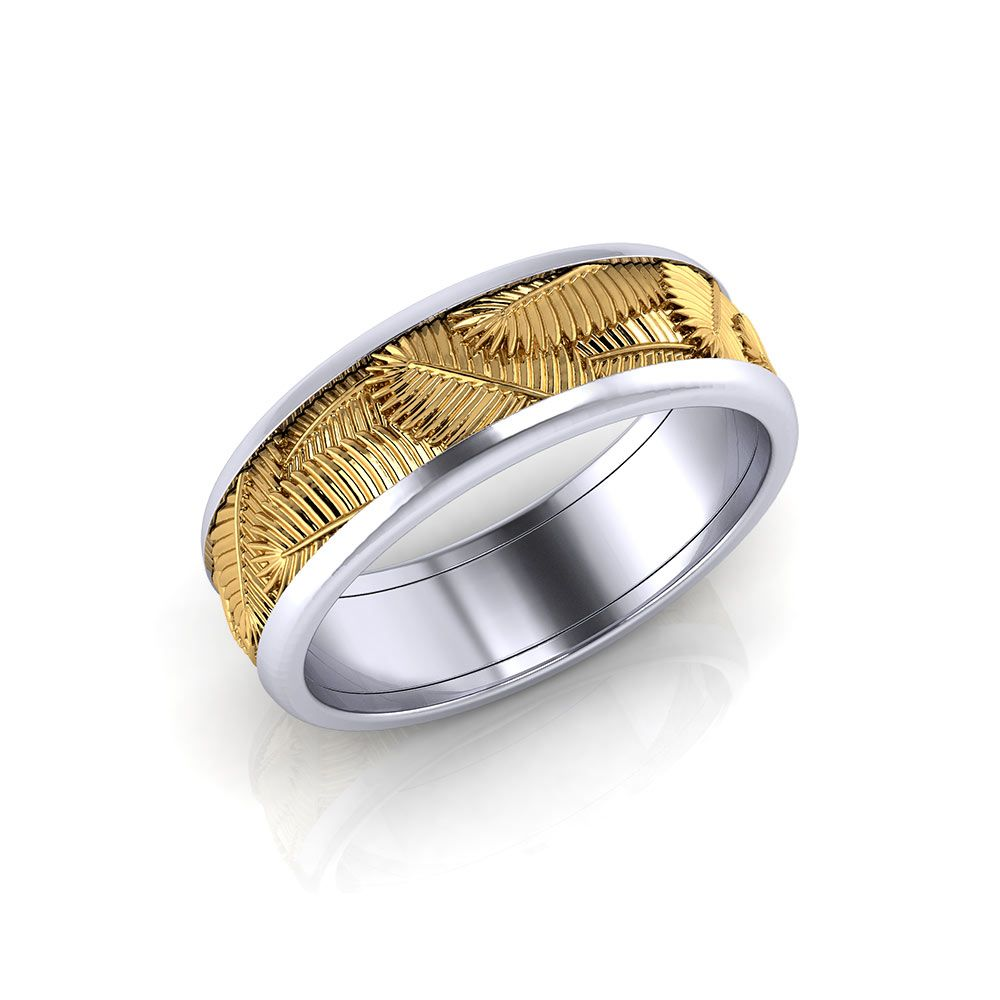 Capturing The Spirit Of A Tropical Honeymoon With This Palm Leaf Wedding  Band, Created By
