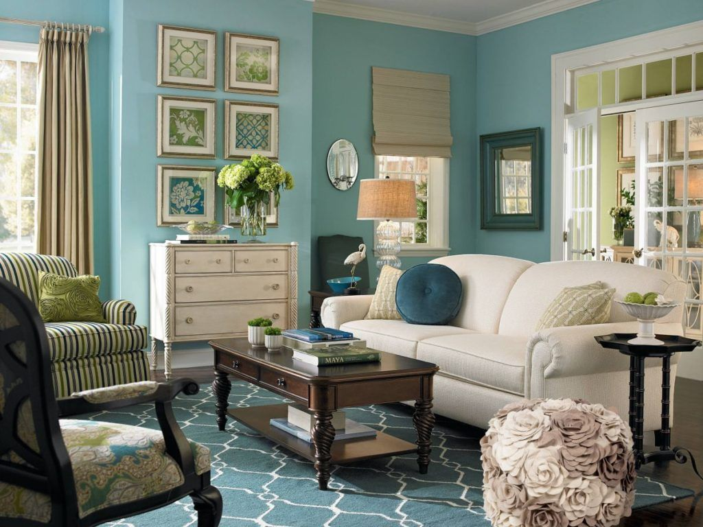 Traditional Living Room With Light Teal Paint Teal Living Rooms