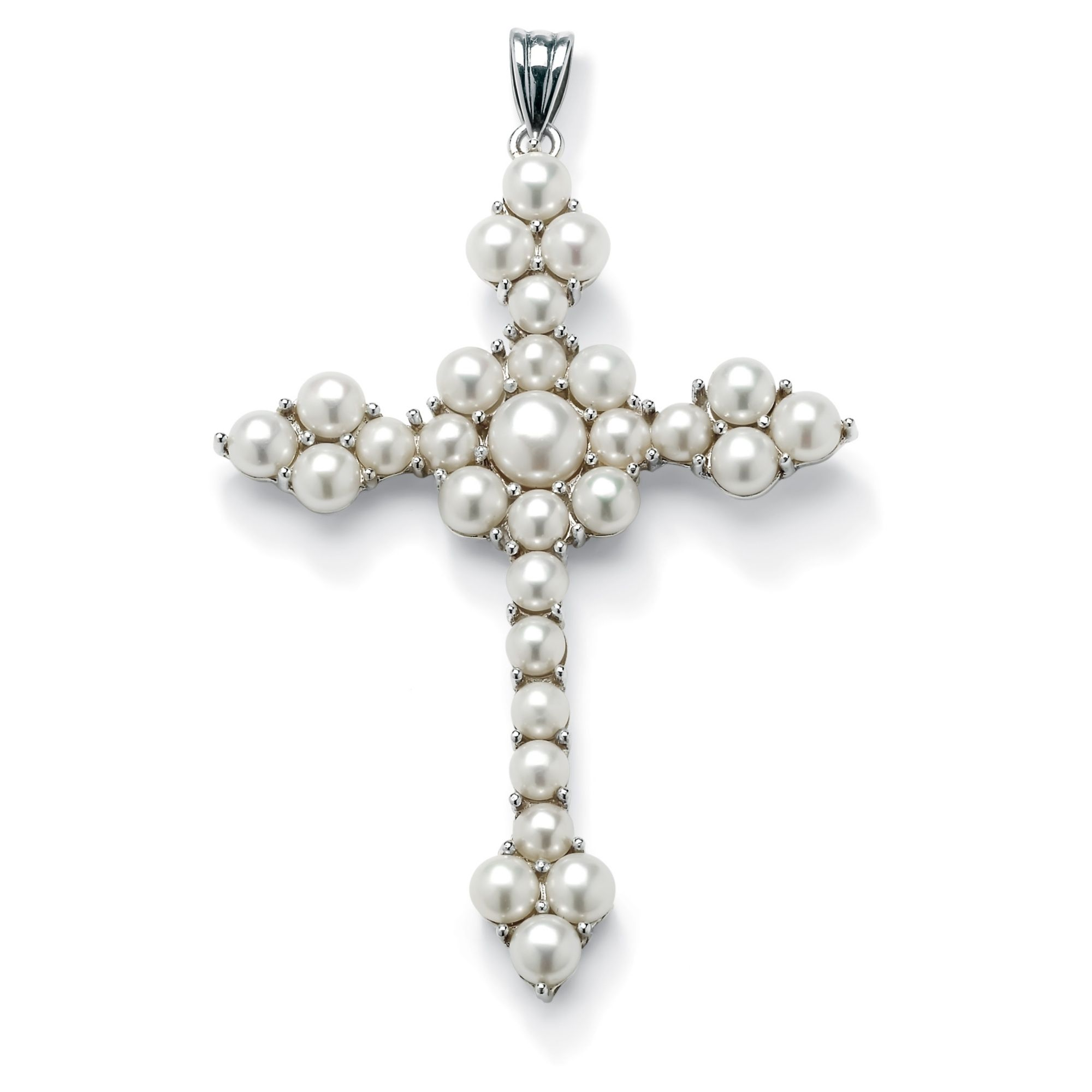 Round Cultured Freshwater Pearl Cross Pendant in Sterling Silver at PalmBeach