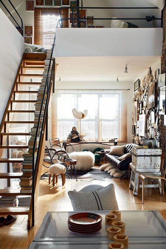 Urban Loft Decor this staircase in the middle of a chic little urban loft looks so