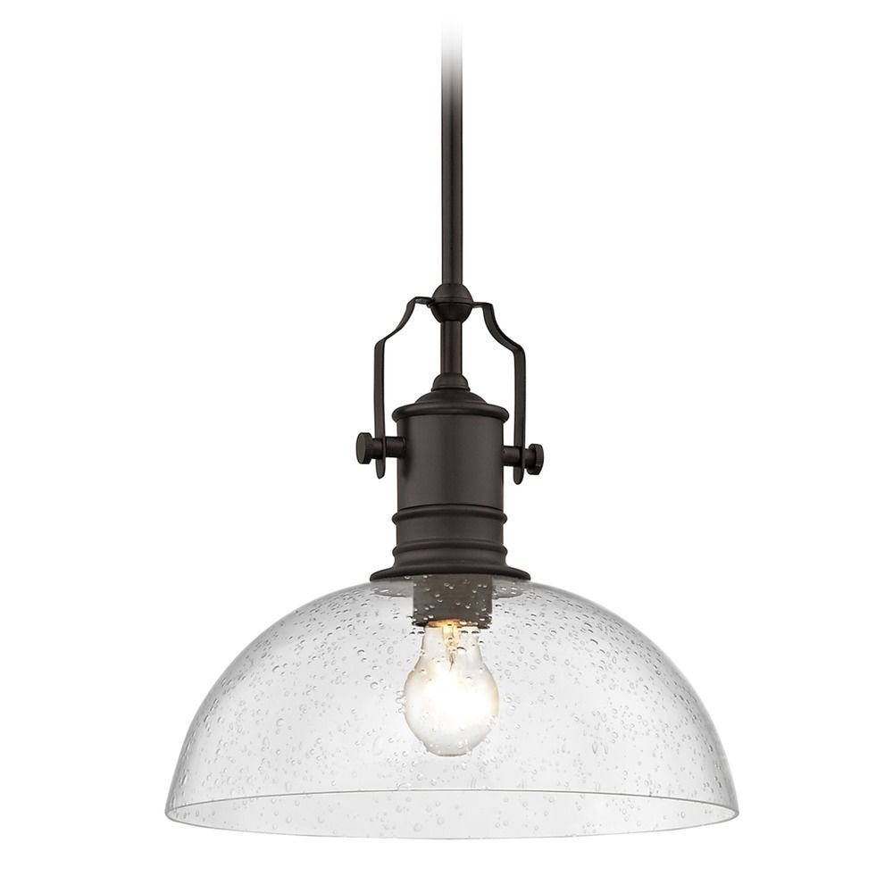 Seeded Glass Farmhouse Pendant Light Bronze 13 Inch Wide At