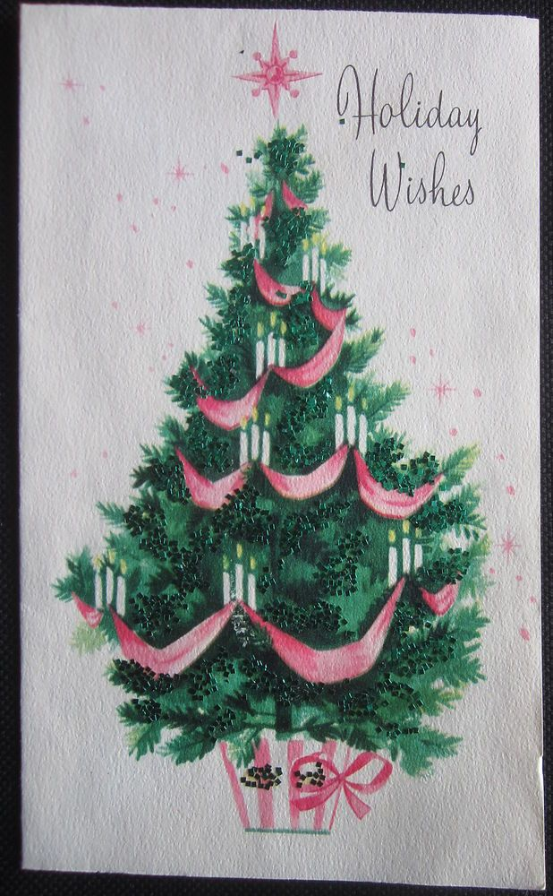 vintage christmas greeting card green tree wrapped in pink