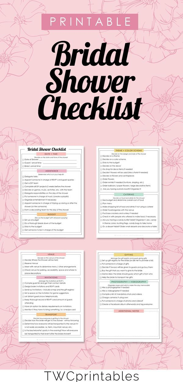 Bridal Shower Checklist  Wedding Printable  Wedding Binder