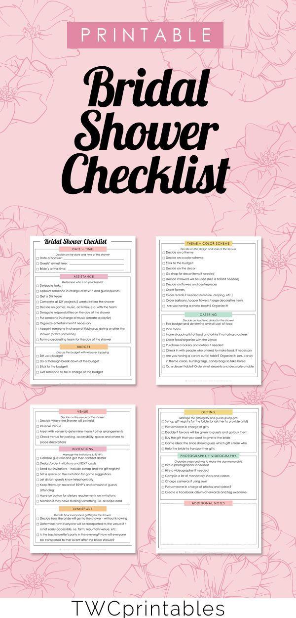 Bridal Shower Checklist  Wedding Printable  Wedding Binder