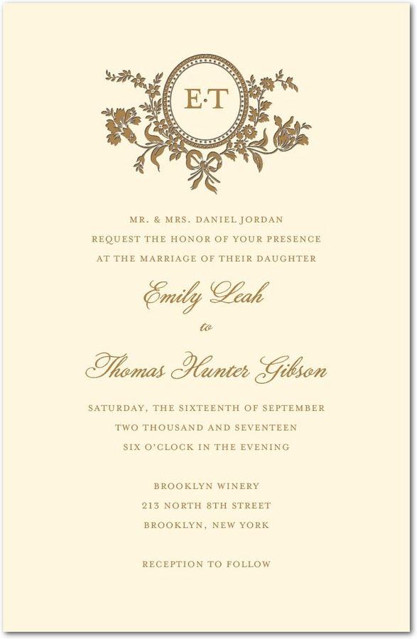 Traditional Style Letterpress Wedding Invitations In Ecru