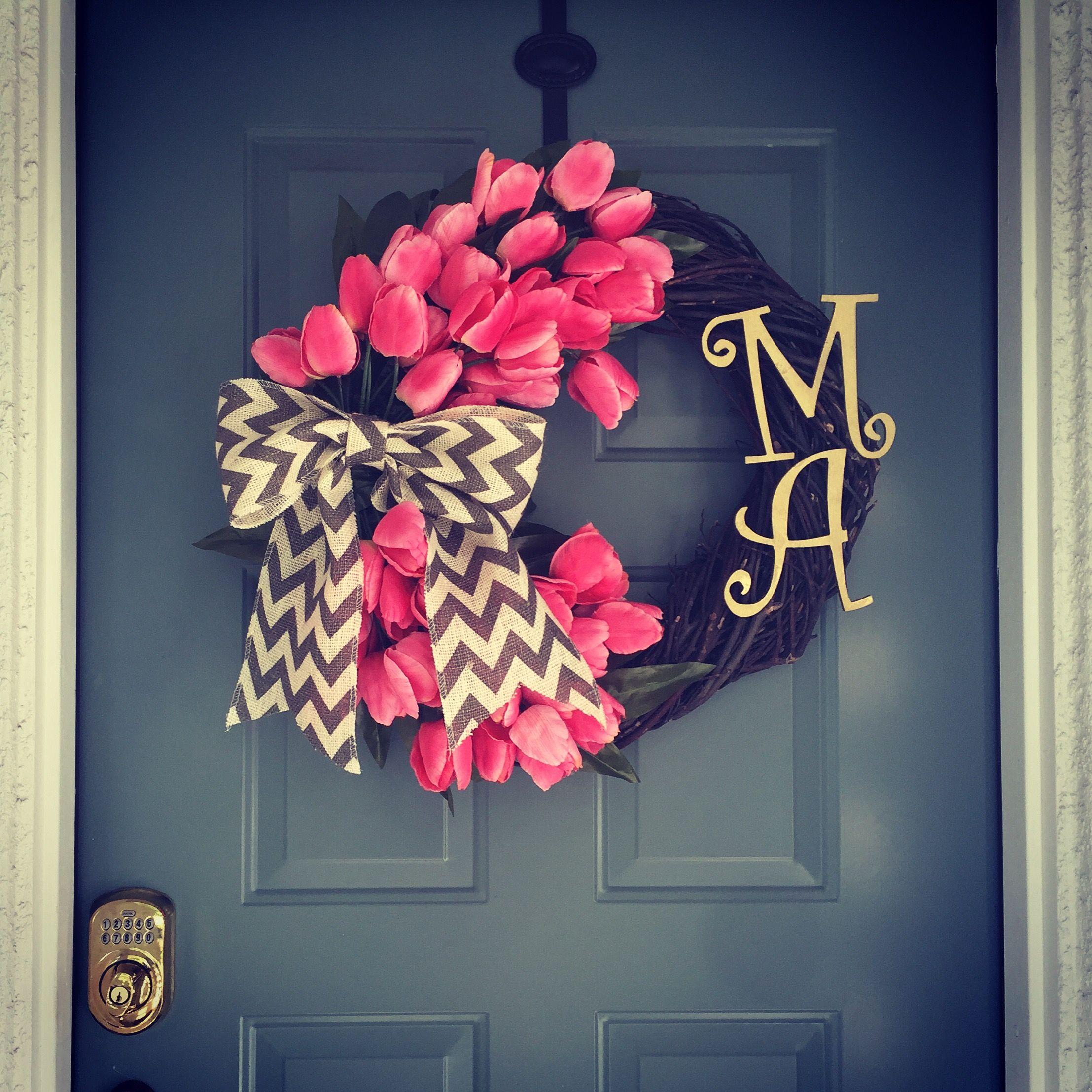 Spring Front Door Wreath Gold Pink Brown Wood Monogram Letters