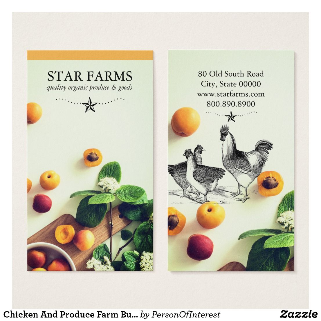 Chicken And Produce Farm Business Cards Zazzle Com In 2021 Farm Business Food Business Card Business Cards