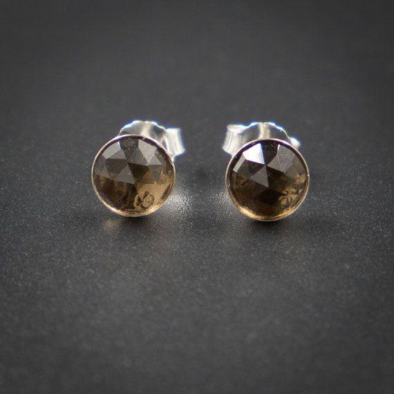 Smokey quartz stud earrings smokey quartz and sterling ...