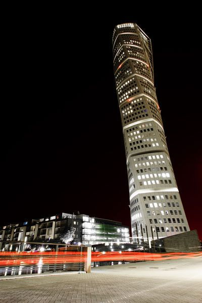 """""""Turning Torso at Night"""" Photography art prints and posters by Michael Roderfeld - ARTFLAKES.COM"""