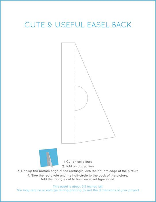 Simple useful template for an easel back, for cards / photos - frame for cards