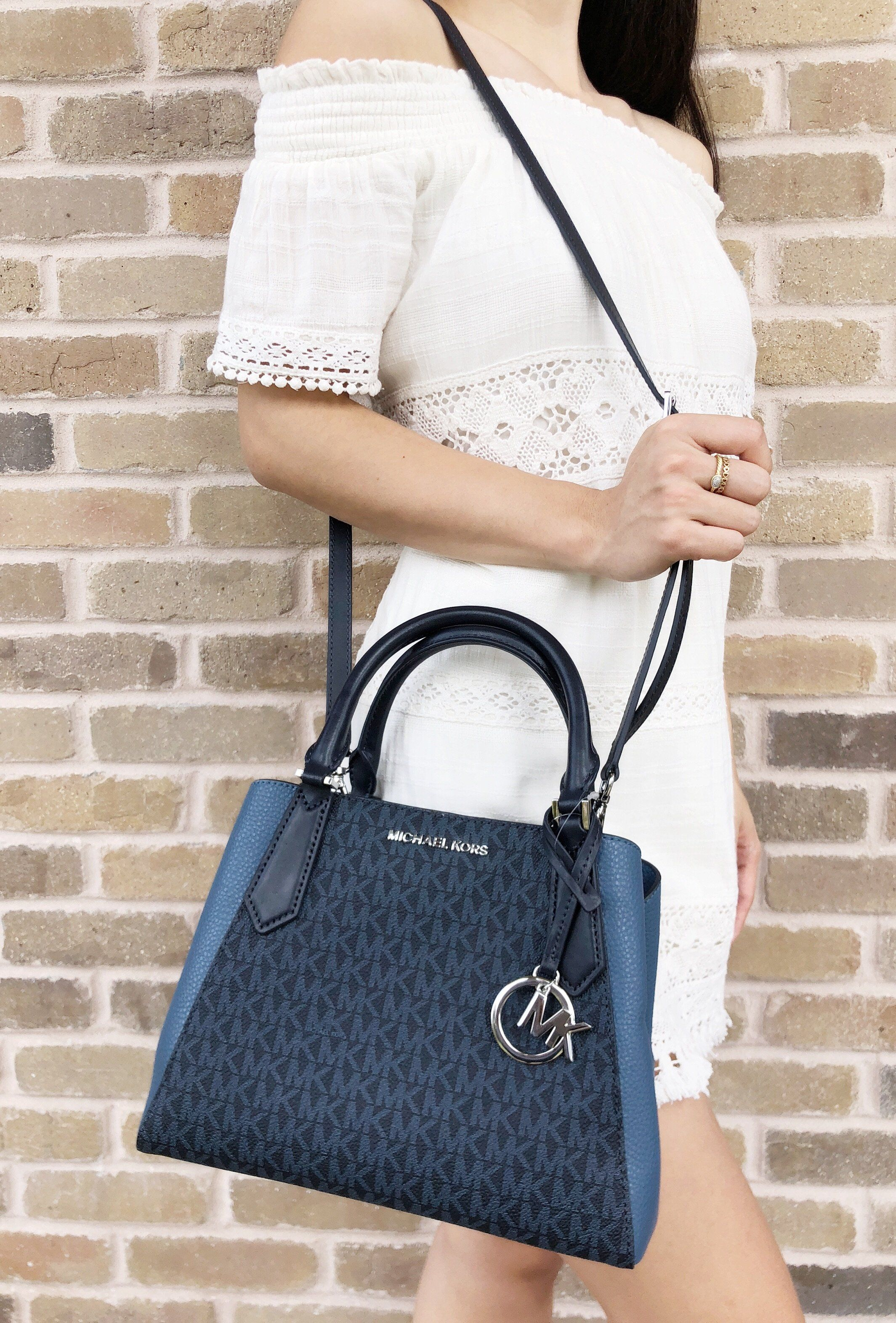 22a677597b5d ... store michael kors kimberly small satchel admiral blue mk signature denim  crossbody mk michaelkors handbags 70a8e
