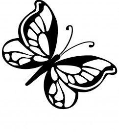 Vlinders muurstickers uni silhouette silhouttes flockfolie pinterest pochoir papillon and - Silhouette papillon imprimer ...