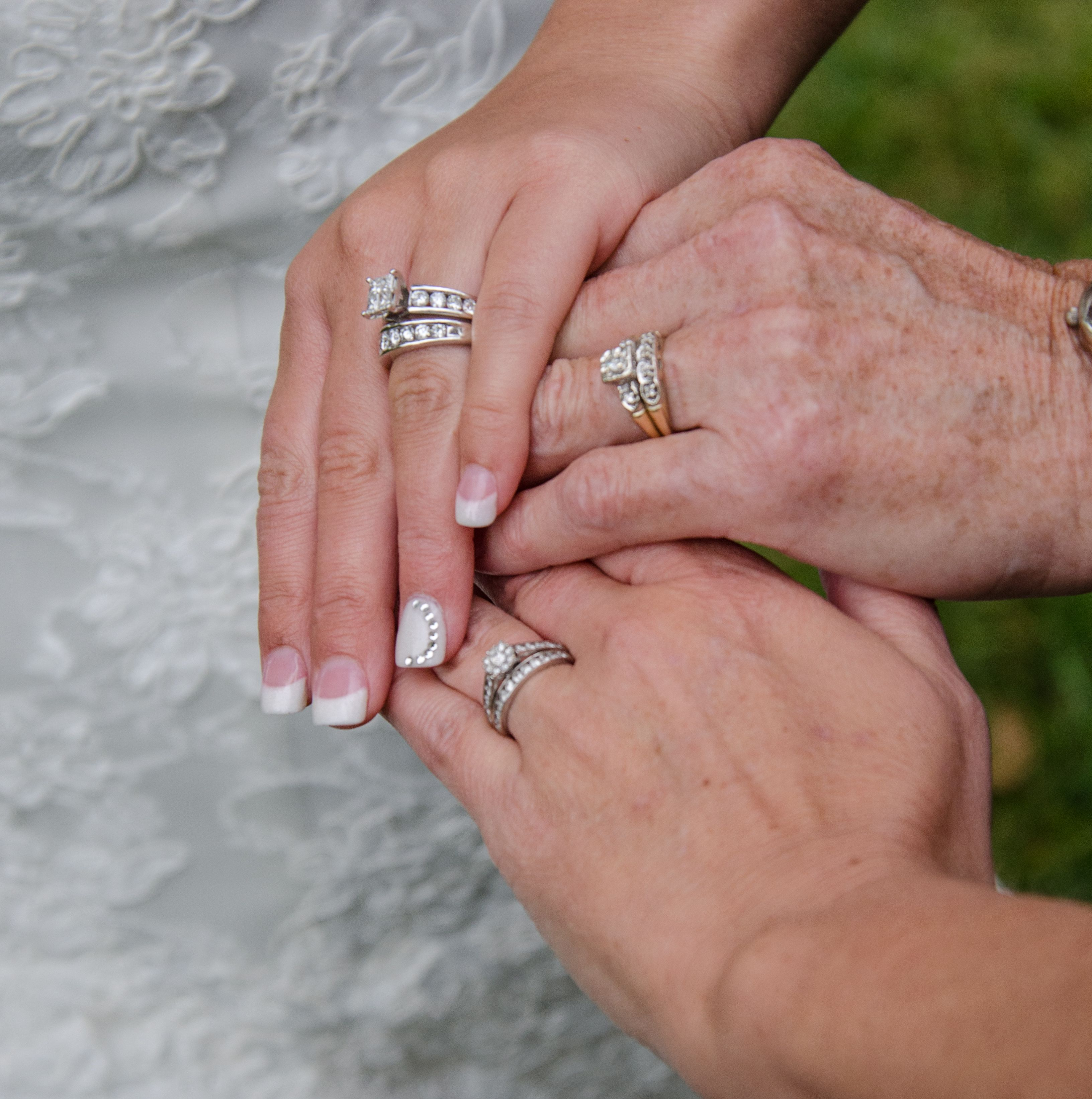 3 generations of hands and wedding rings. Tulsa wedding at Skelly ...
