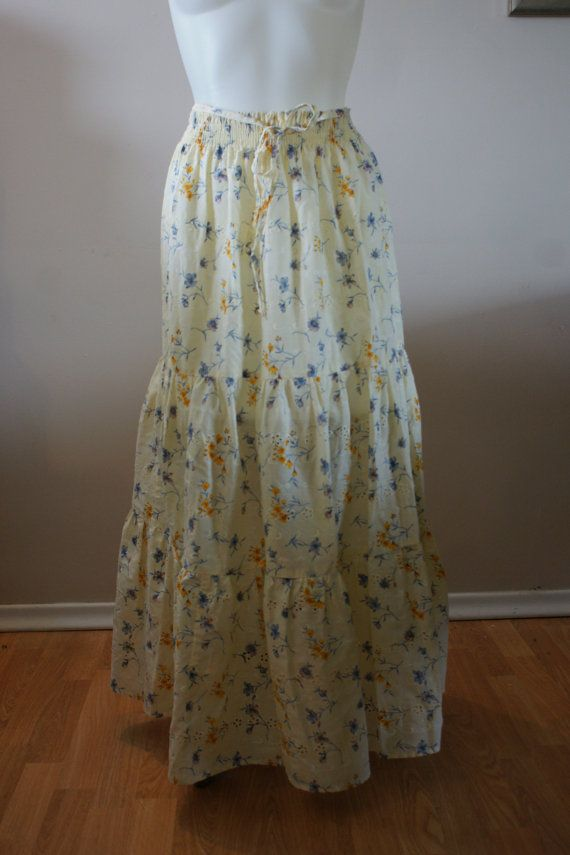 Vintage Lemon Yellow Eyelet Tiered Full length Skirt Hippie Boho Beach by BoutiqueThreadsCA