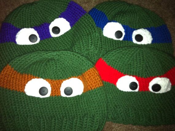 Tmnt Knitting Patterns : Childrens hand knitted ninja turtle beanie hat Leonardo ...