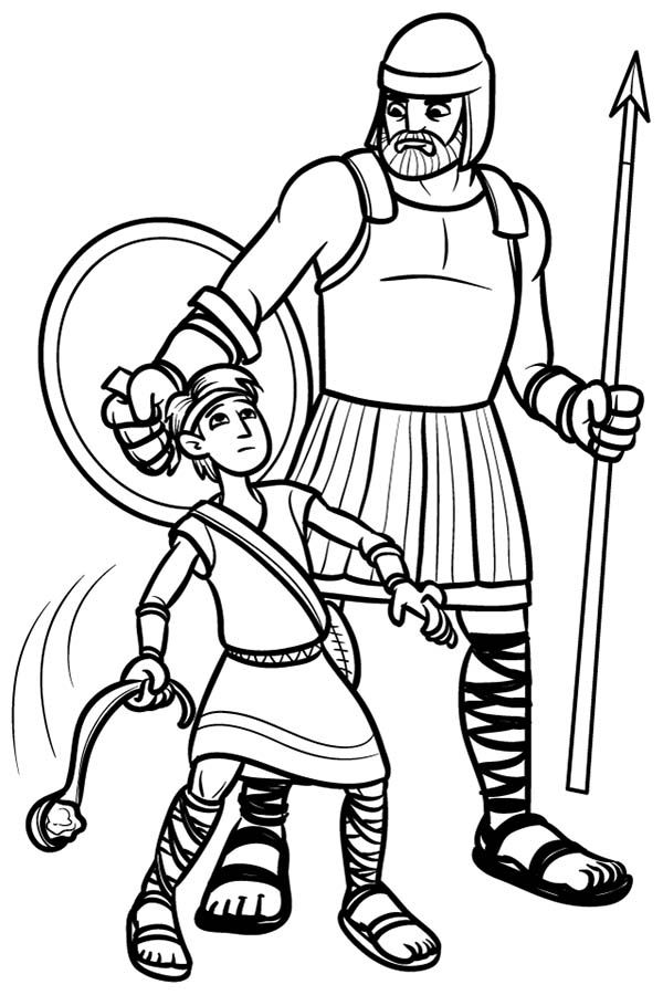 David And Goliath Coloring Page David And Goliath Coloring