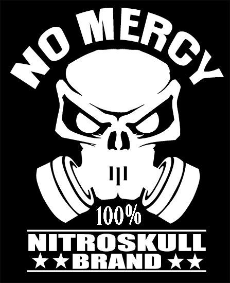 NITRO SKULL BRAND HARDCORE NO MERCY Decal BadassCOOL - Badass decals for trucks