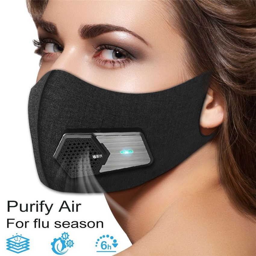 Cycling And Outdoor Activities Running PM2.5 Pollen Allergy Personal Fresh Air Supply Device Electric Half Face Protector Cover for Exhaust Gas