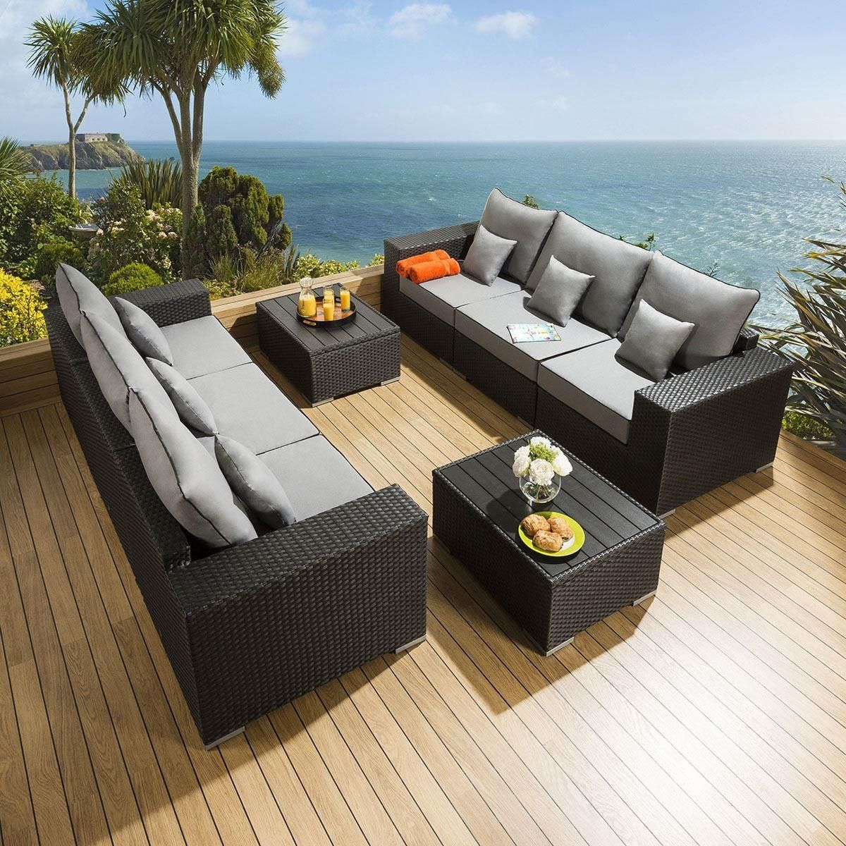 Lovely Garden 10 x 10 Seater Sofa Set Black Rattan / Grey Cushion S10