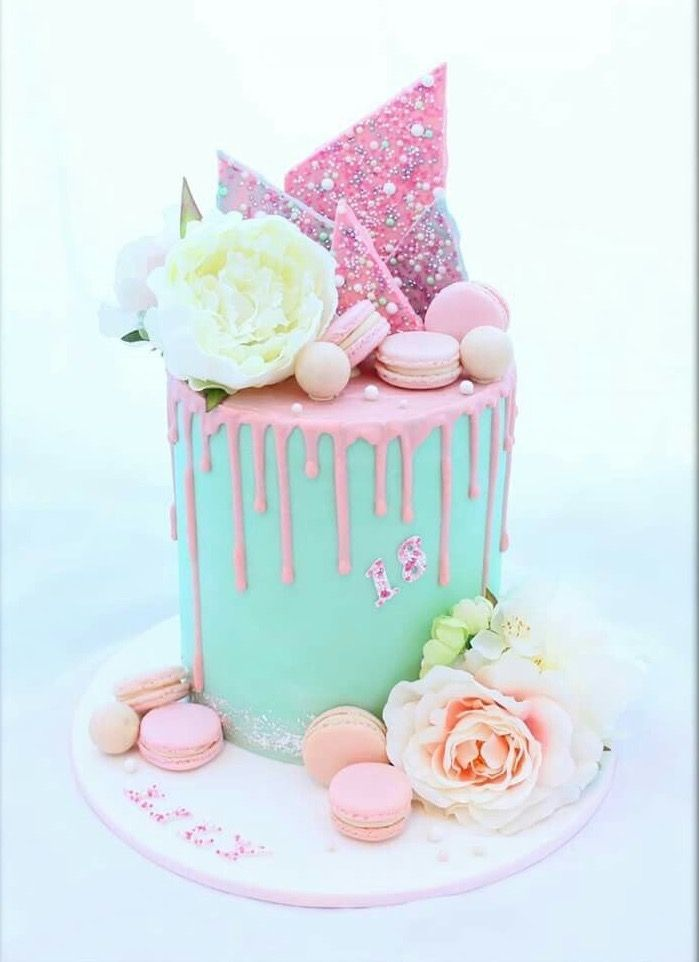Pink And Turquoise Drip Cake With Chocolate Bark