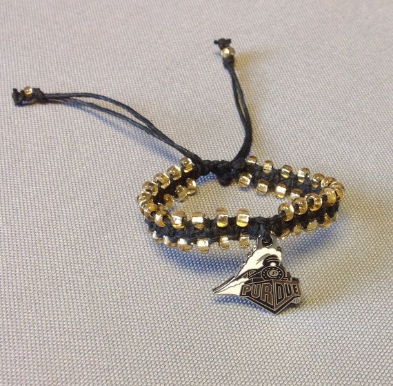 Purdue Boilermaker Macramé Bracelet by BoilerChic on Etsy, $15.00
