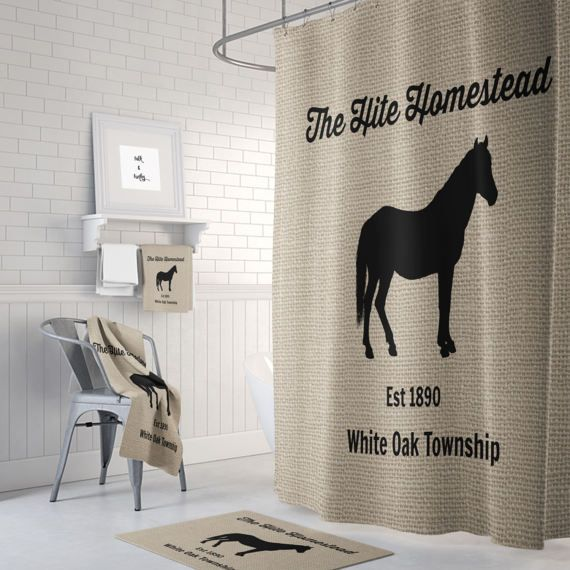 Personalized Horse Farm Shower Curtain Farmhouse Chic Faux Burlap
