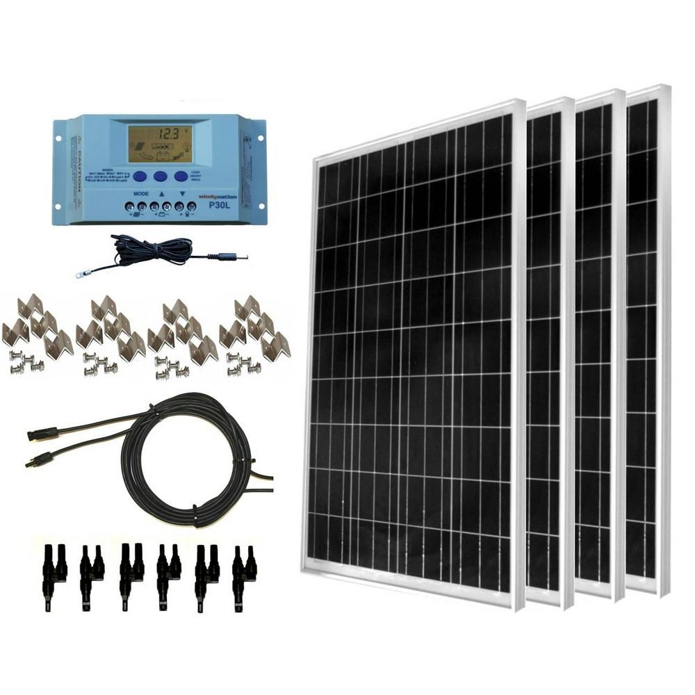 Windynation 400 Watt Off Grid Polycrystalline Solar Panel Kit With Lcd Charge Controller Solar Kit Solar Panels Best Solar Panels