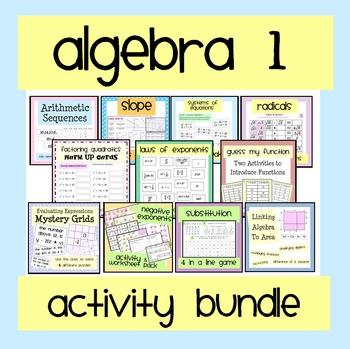 Algebra 1 Worksheet  Activity Bundle Pinterest Algebra
