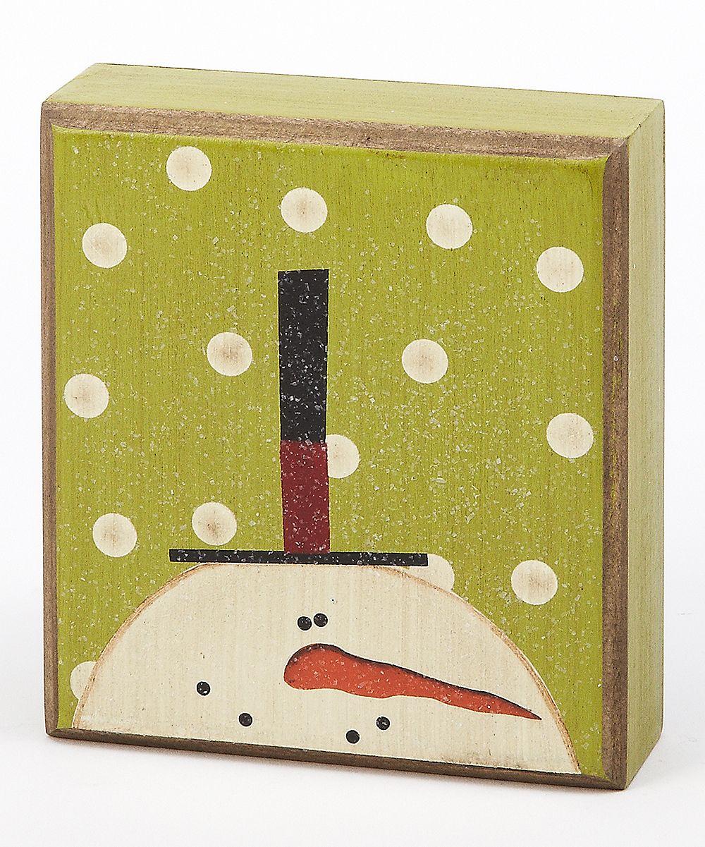 Green Polka Dot Snowman Box Sign Christmas Ornaments