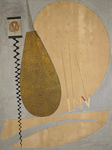 By Man Ray, 1917, Involute, collage. Man Ray turned to making collages as a way of de-personalising art. This work was made during the early stages of New York Dada.