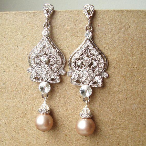 bf82ebfc9f5c0 Champagne Wedding Earrings, Art Deco Bridal Earrings, Vintage Bridal ...