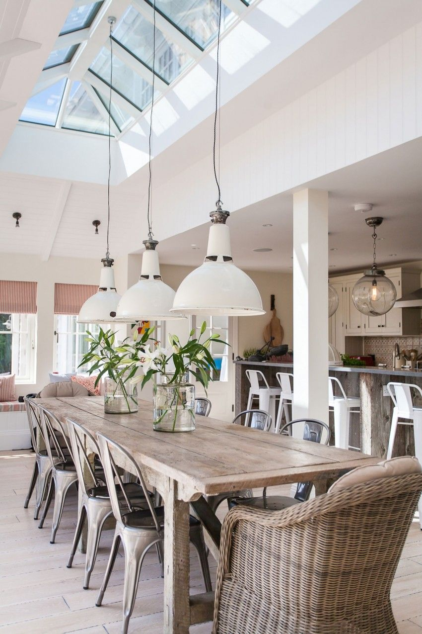 Dining Chairs And Low Modern Industrial Style Lighting