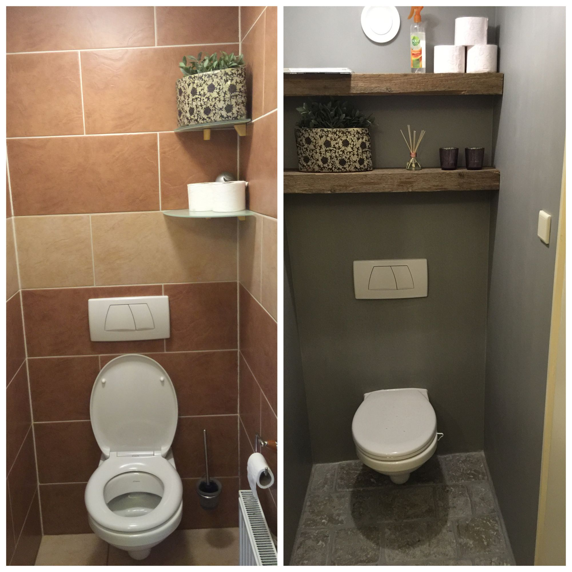 Before and after toilet oude houten planken zwevend en muur behandeld met painting the past - Rustieke wc ...