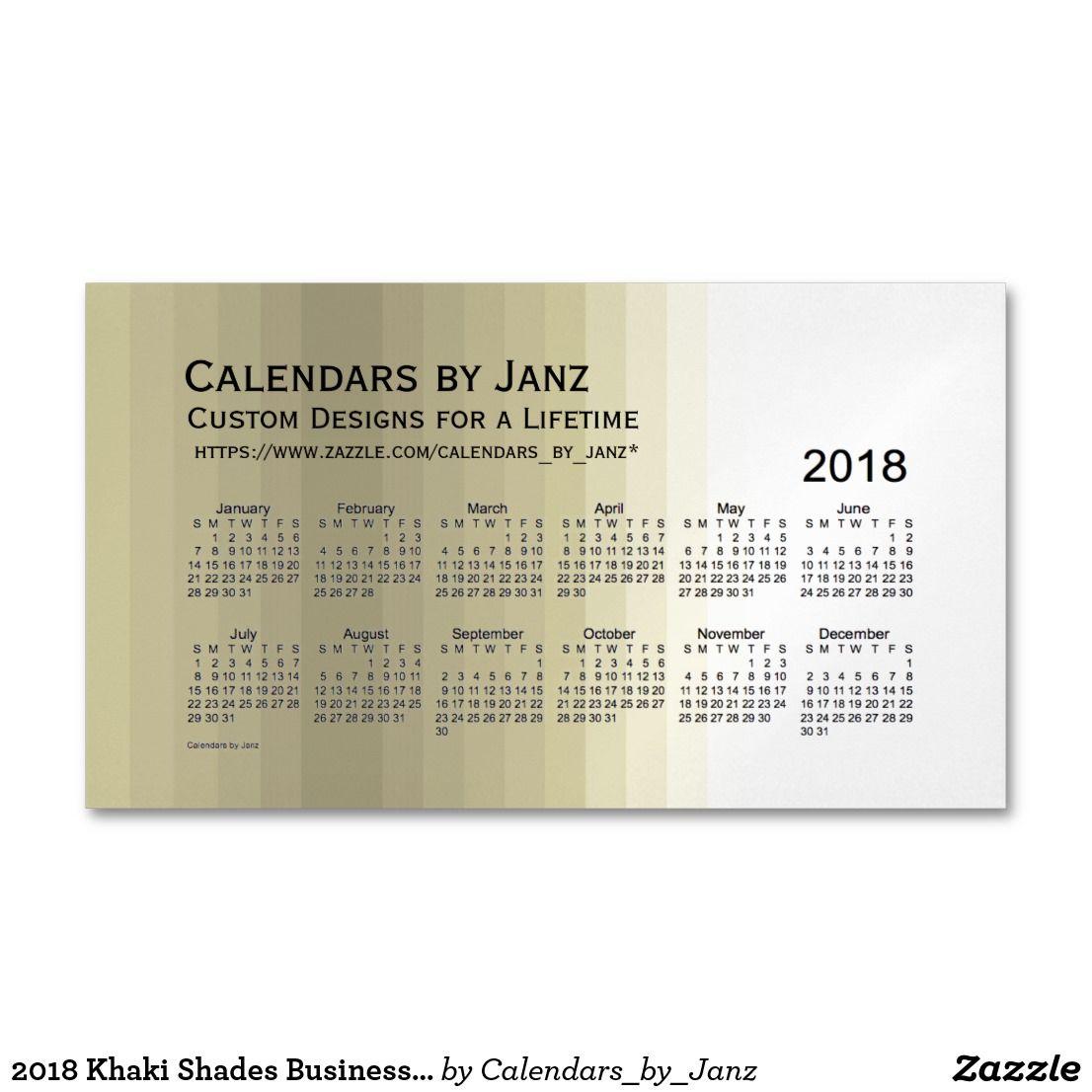 2018 Khaki Shades Business Calendar by Janz Business Card Magnet ...