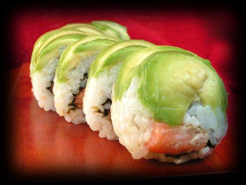Caterpillar sushi roll... ou chenille verte à la truite