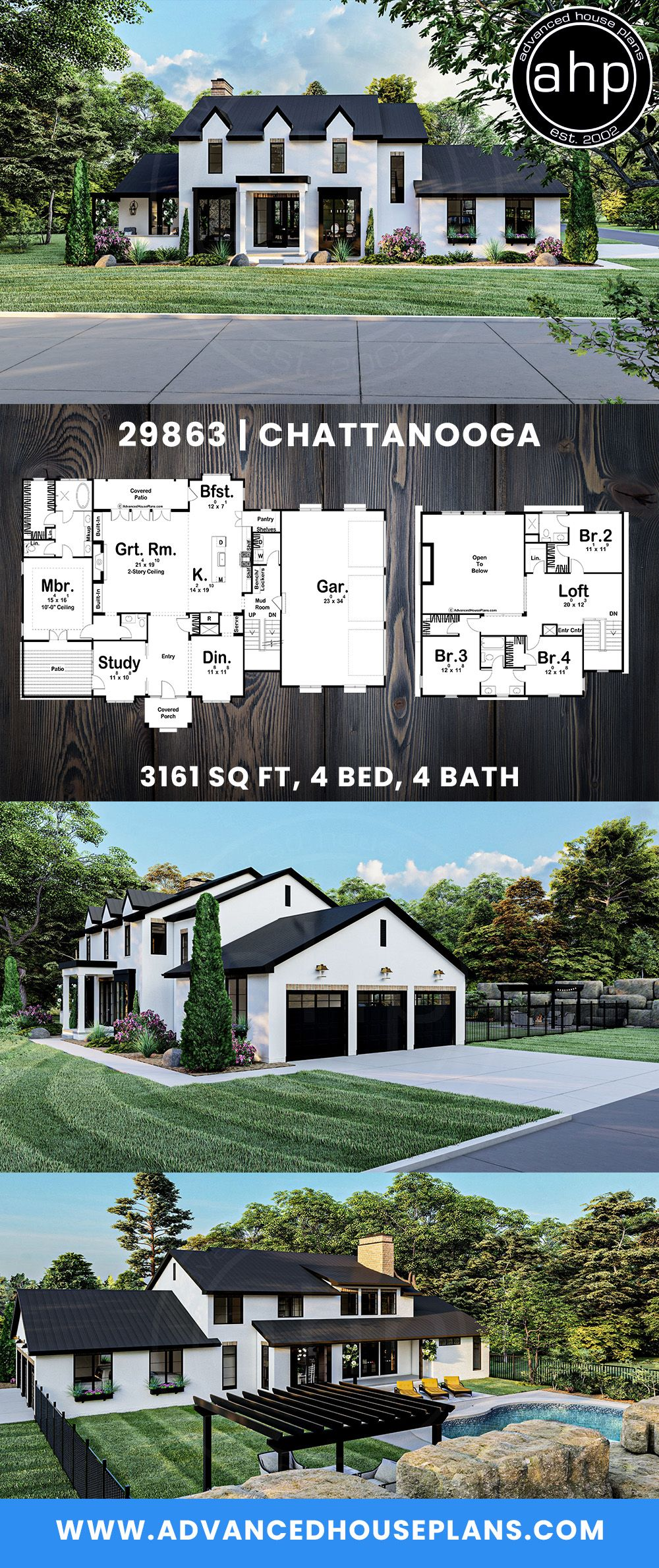 1 5 Story Southern Style House Plan Chattanooga In 2020 Farmhouse Style House Plans House Blueprints Dream House Exterior