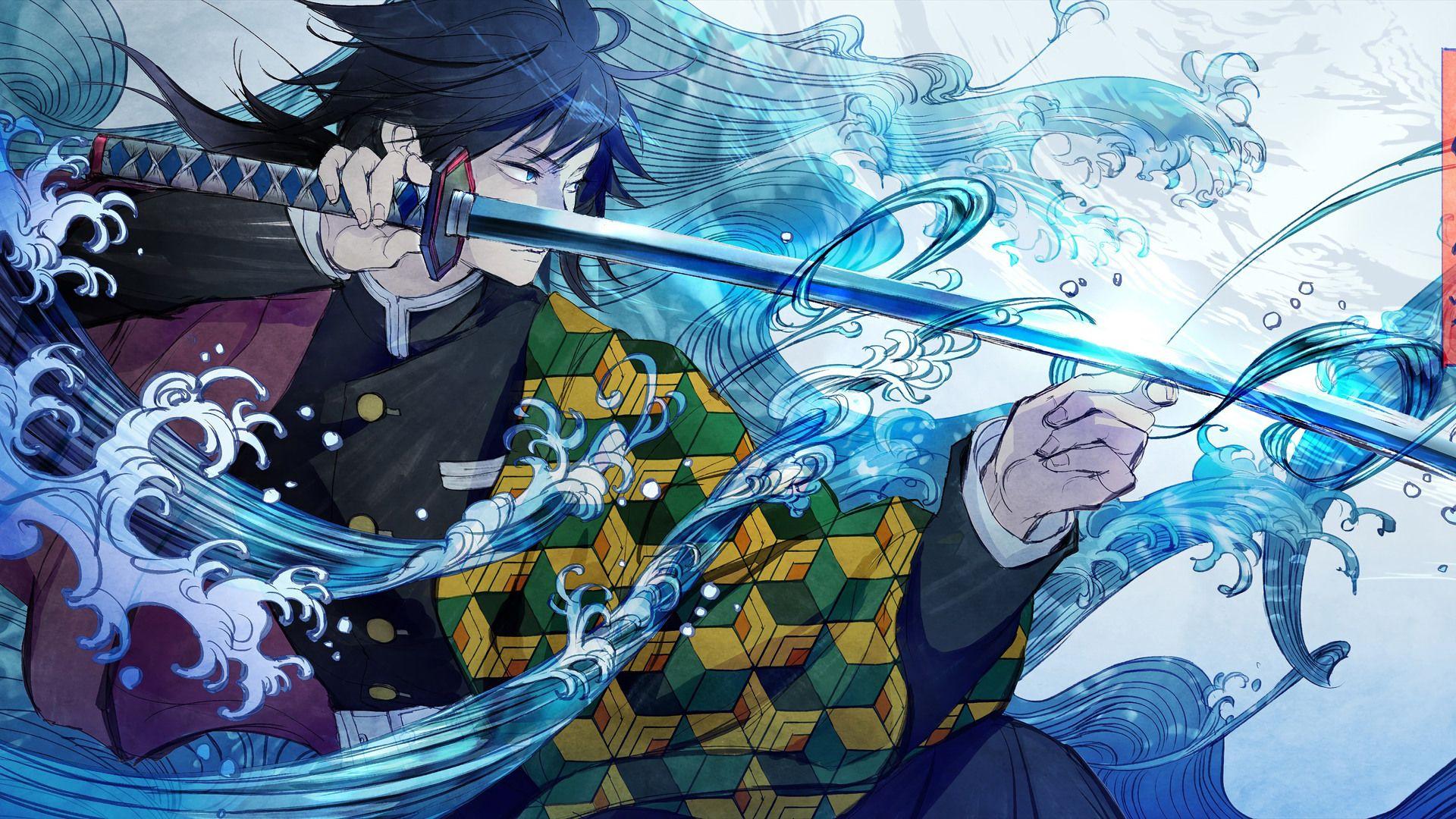 Giyu Tomioka Wallpaper Di 2020 Seni Anime Gambar Karakter Kertas Dinding