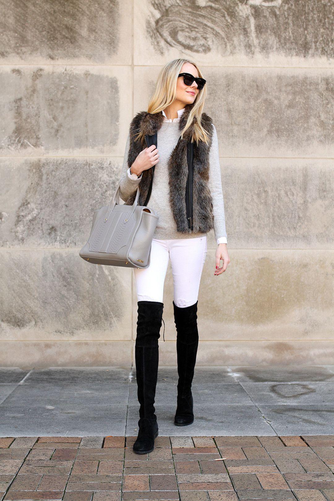 722af65b255 Boots Over Jeans · Fashion-jackson-faux-fur-vest-white-skinny-jeans-