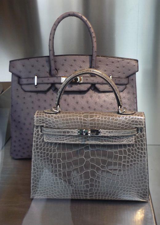 54e7cb583b97 Hermès - Ostrich Birkin and alligator Kelly bag in gray.