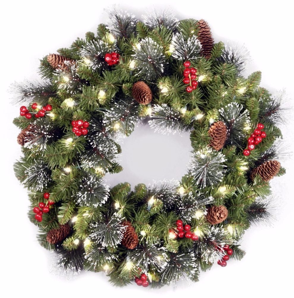 Outdoor Lighted Wreath Crestwood 24 Inch Green Spruce Wreath Clear Lights Indoor Outdoor