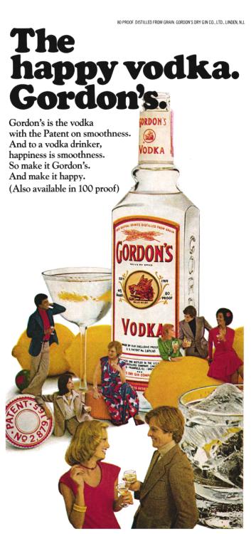 1975 Advertisement For Gordon S Vodka Old Liquor Bottles Dry Gin Vodka