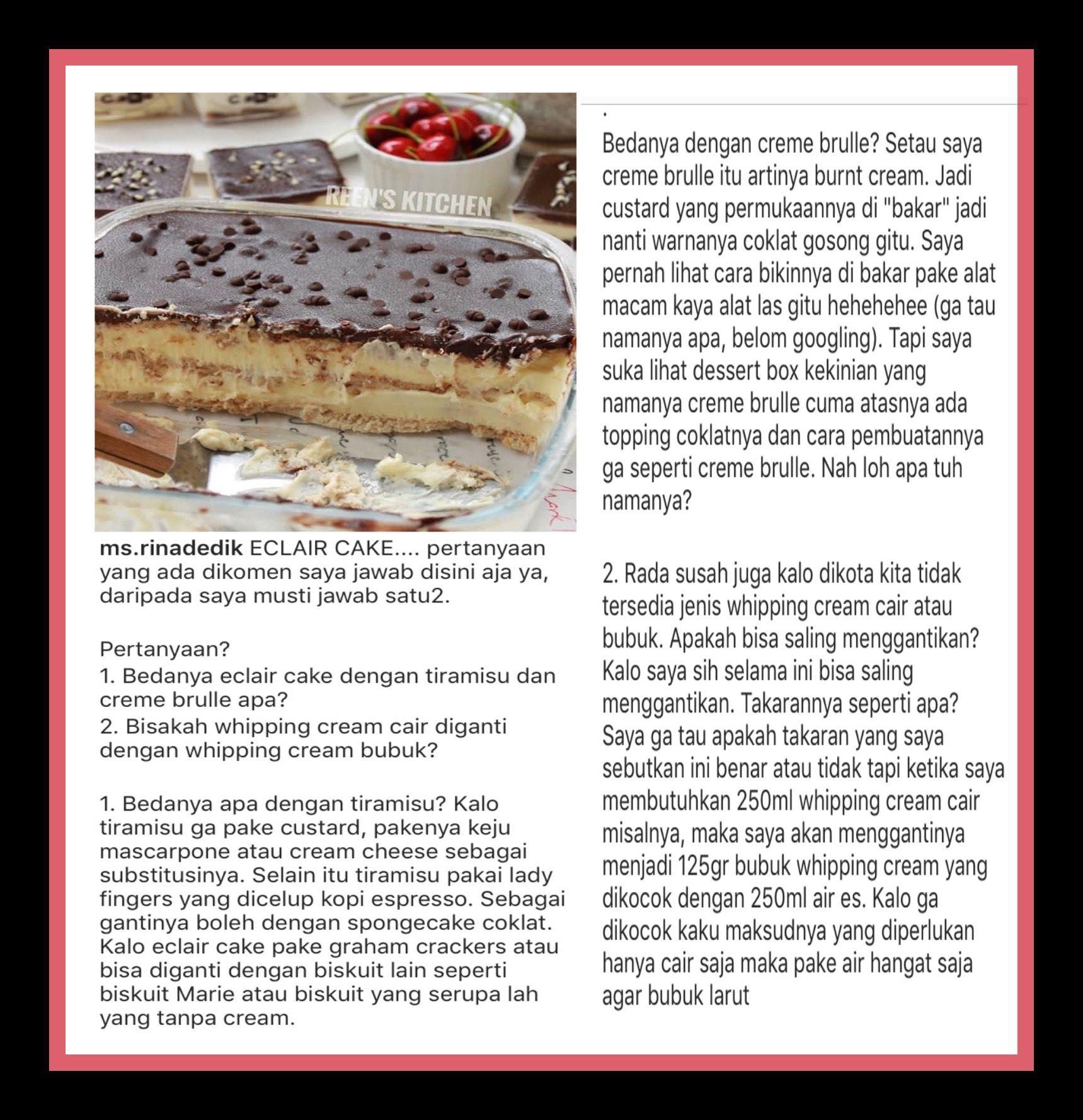Pin oleh Jamiilah di Cake & Cookies | Custard, Coklat, Alat las