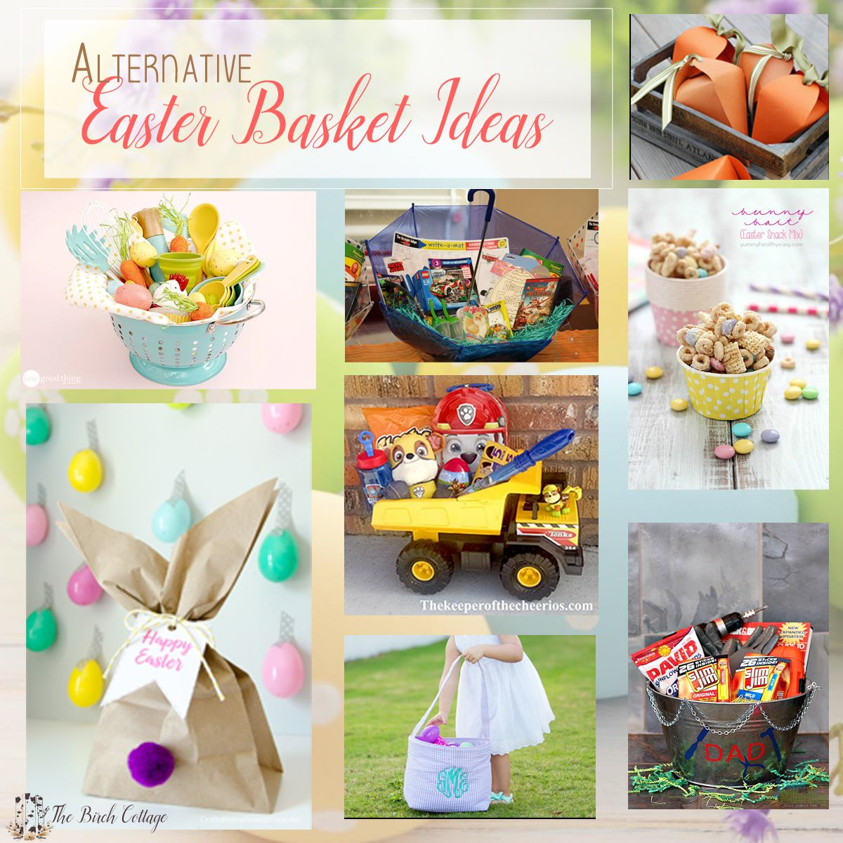A collection of alternative easter basket ideas from the birch