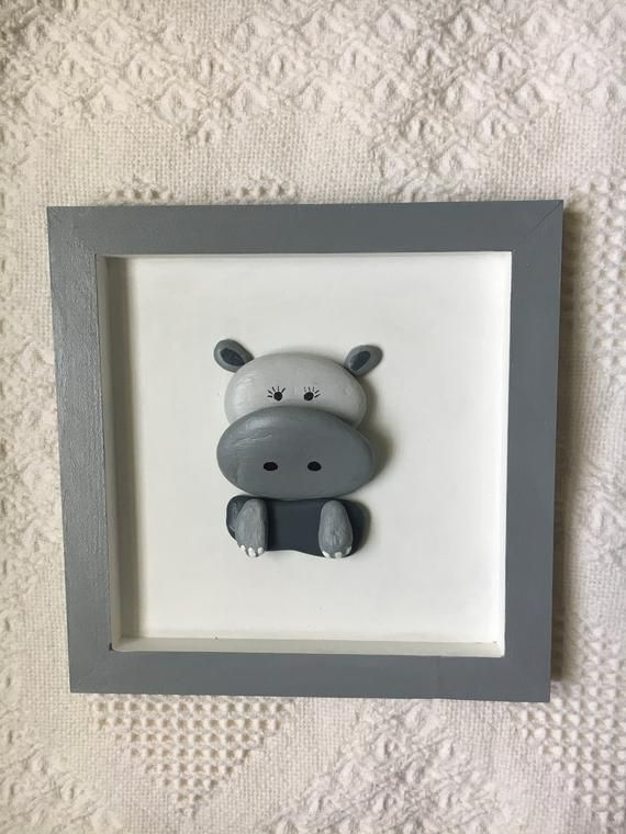 Baby hippo wall art, baby hippo decor, framed pebble art, baby shower gift, unique gift, framed baby hippo wall hanging, kid's room #babyhippo