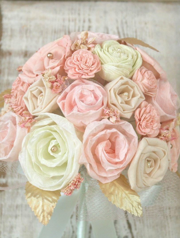 Pastel Mint And Pink Handmade Bride S Alternative Wedding Bouquet Green Blush